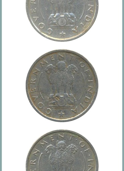 1954 1/2 Half Rupee Corn Sheaf Nickel Coin Calcutta Mint