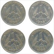 1956 1/2 Half Rupee Corn Sheaf Nickel Coin Calcutta Mint