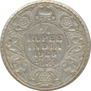 1928 1/4 Quarter Rupee George V King Emperor Bombay Mint