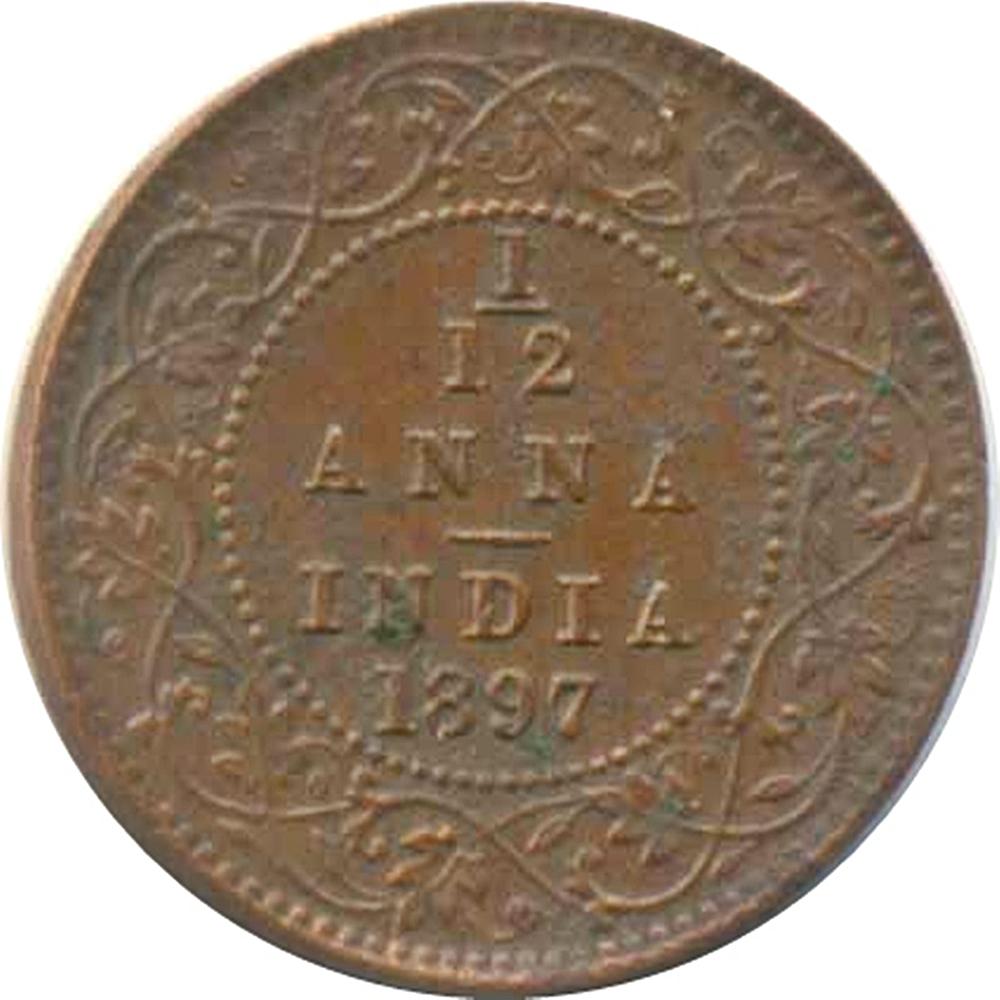 1897 1 12 Twelve Anna Victoria Empress Calcutta Mint