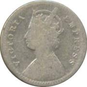 1886 2 Two Annas Queen Victoria Empress - Calcutta Mint -RARE