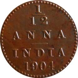 1904 1/12 One Twelve Anna Edward VII King Emperor - Calcutta Mint - RARE