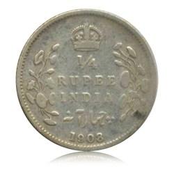 1908 Quarter Rupee Edward VII Emperor Calcutta Mint