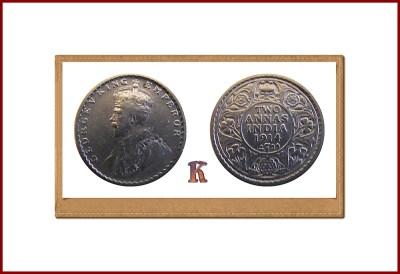 1914 2 Two Annas George V Emperor Calcutta Mint RARE