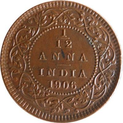 1906 1/12 One Twelve Anna Edward VII King Emperor - Calcutta Mint - RARE