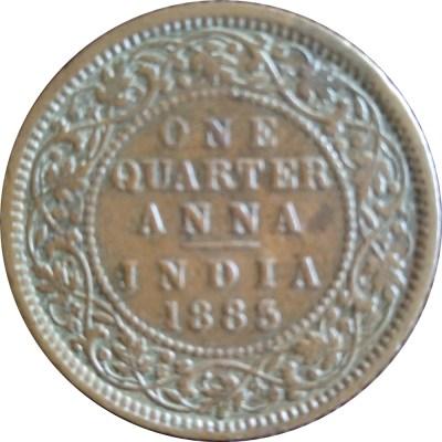 1883 1/4 One Quarter Anna Queen Victoria Empress- RARE COIN