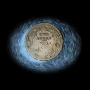 1897 Queen Victoria Empress 2 Annas Silver Coin Calcutta mint - RARE