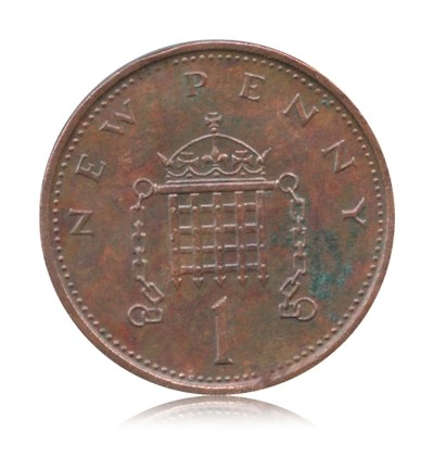 1973 1 New Penny Coin Britain Queen Elizabeth II