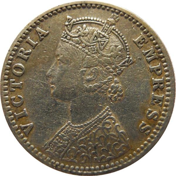 1/4 Rupee British India 1887 Silver Coin Queen Victoria - Worth Buy