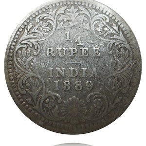 1/4 Rupee British India 1889 Silver Coin Queen Victoria - Best Buy