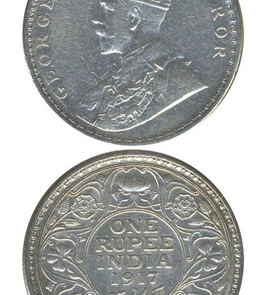1916 1917 1 One Rupee George V King Emperor Calcutta Mint - UGET - 2 Coins
