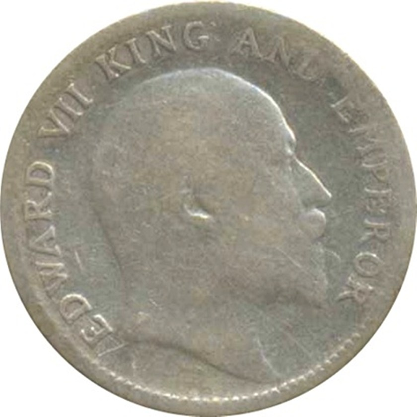 1910 1/4 Quarter Rupee King Edward VII Emperor Calcutta Mint
