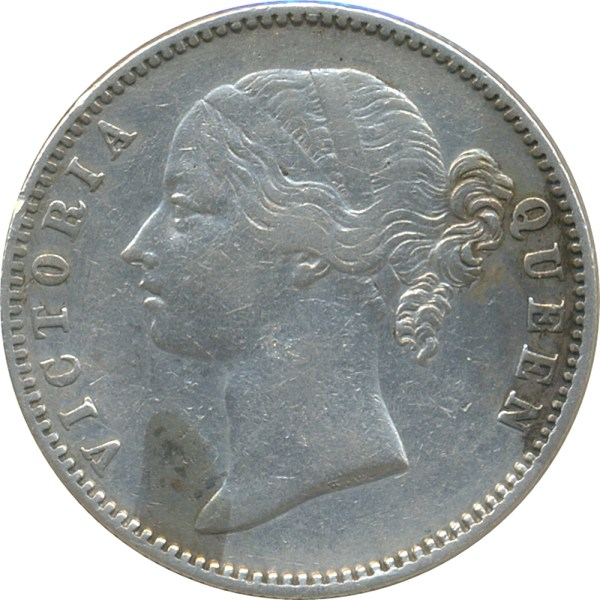 East India 1840 1Rupee Victoria Queen Divided Legend W W.W. 13L + 15 R