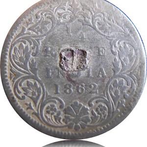 1862 1/4 Quarter Rupee Queen Victoria Silver Coin - Best Buy - RARE COIN