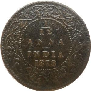 1878 1/12 One Twelve Anna British India Queen Victoria Empress Calcutta Mint - Worth Buy