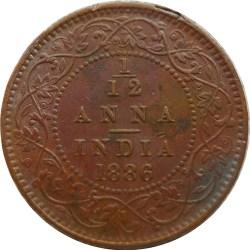 1886 1/12 One Twelve Anna British India Queen Victoria Empress - Best Buy