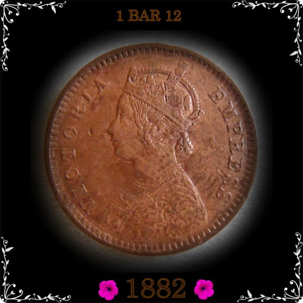 1882 1/12 One Twelve Anna Queen Victoria Empress Calcutta Mint - FOUND MOST RARE COIN