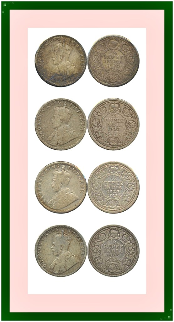 1925 1/4 Quarter Rupee King George V Bombay Mint - Best Buy - UGET -4 Coins