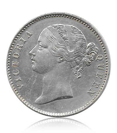 1840 One Rupee Silver Coin Victoria Queen Divided Legend Calcutta Mint - RARE