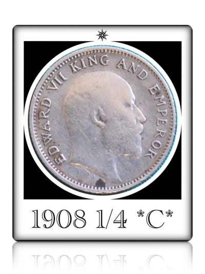 1908 1/4 Rupee Silver Coin British India King Edward VII Calcutta Mint - Rare Coin
