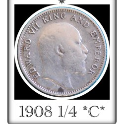 1908 1/4 Rupee Silver Coin British India King Edward VII Calcutta Mint - Rare Coin