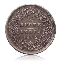 1862 British India Queen Victoria 1/4 Quarter Rupee Silver Rare Coin