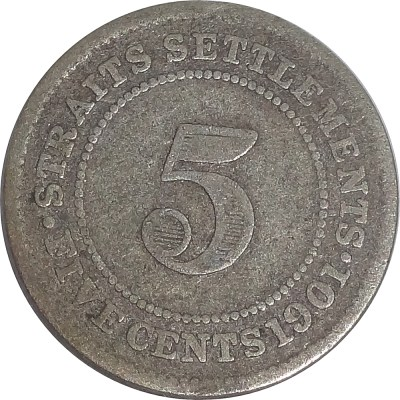 1901 five cents British India Queen Victoria straits settlements - Rare Coin