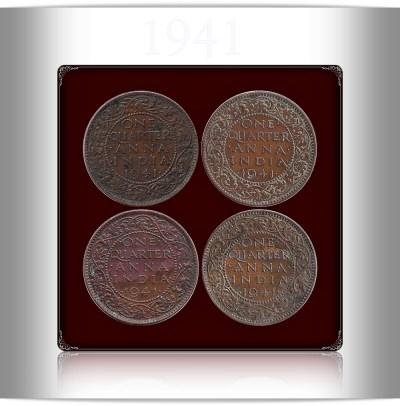 1941 1/4 Quarter Anna British India King George VI Calcutta Mint - UGET - 4 Coins