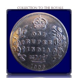 1906 1 Rupee Silver Coin British India King Edward VII Calcutta Mint - RARE