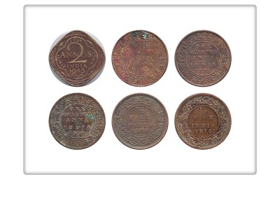1936 1942 1943 King George V & VI 1/2 Pice 1/4 Anna 2 Annas Coin Bombay & Calcutta Mint - 6 Coin