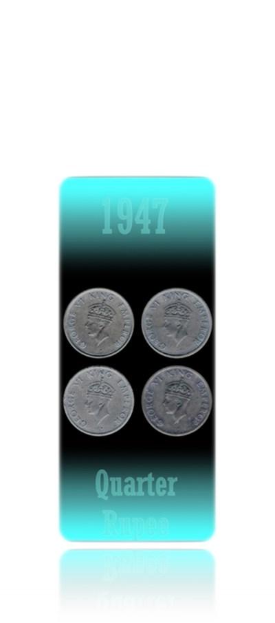 1947 1/4 Quarter Rupee King George VI Bombay Mint - 4 Coins