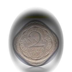 1939 2 Anna Coin British India King George VI Calcutta Mint