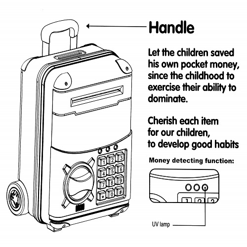 Money Safe Kids Piggy Bank with Electronic Lock Briefcase