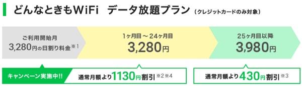 どんなときもwifi3280円