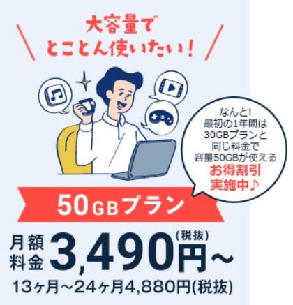 ネクストモバイル50GB