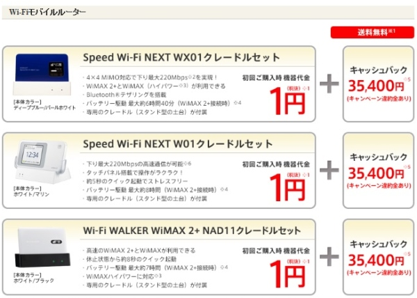 niftywimax2キャッシュバック