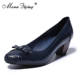 43455011f9ab9 Mona Flying Women's Genuine Leather Shoes for Women Office Med Heels Round  Toe Multicoloured Dress Pump 6022-1