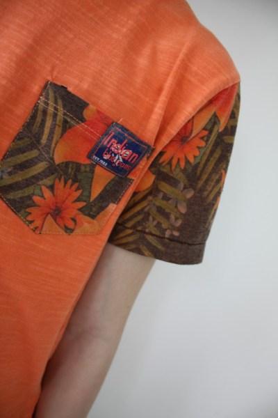 Indian Blue Jeans oranje shirt met flower sleeves