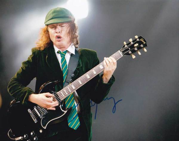 Angus Young In-person Autographed Photo AC/DC