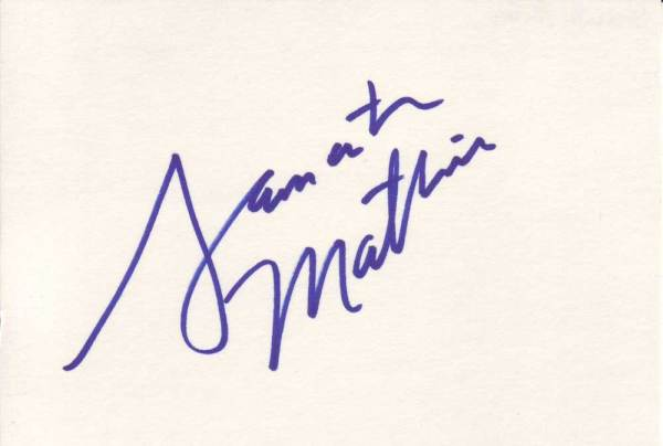 Samantha Mathis Autographed Index Card