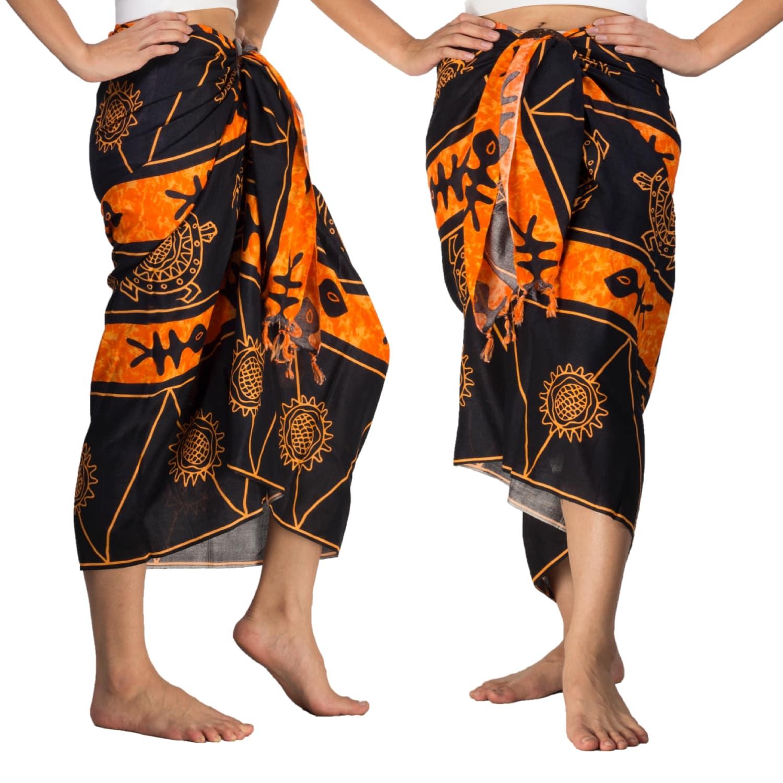 Black & Orange Sarong With Batik Print Stylish Cover-up Pareo Wrap