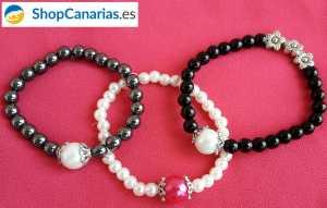 Pulsera ShopCanarias.es elástica con perla