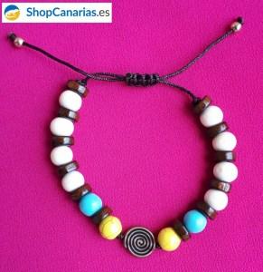 Pulsera de Hilo Shopcanarias.es de bolas con símbolo Guanche