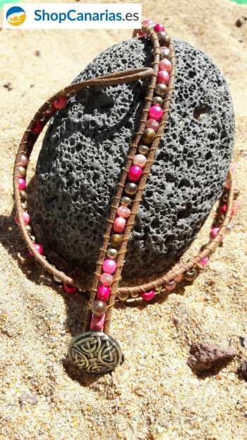 Pulsera Cosida a Cuero Shopcanarias.es tres vueltas tonos rosados
