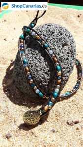 Pulsera Cosida a Cuero Shopcanarias.es tres vueltas tonos azules