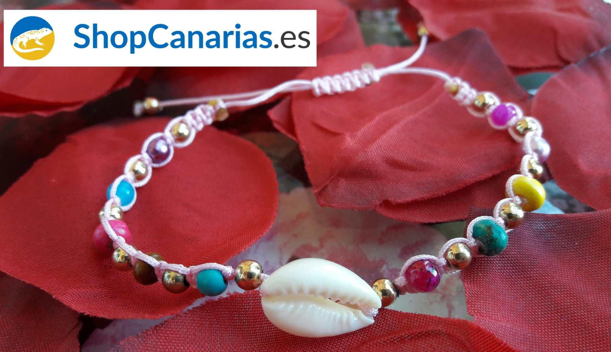 Pulsera Macramé Shopcanarias.es con hilo rosado y concha