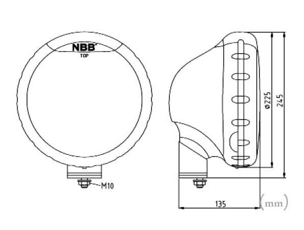 Extraljus NBB225 LED med 60W Xenon Konvertering