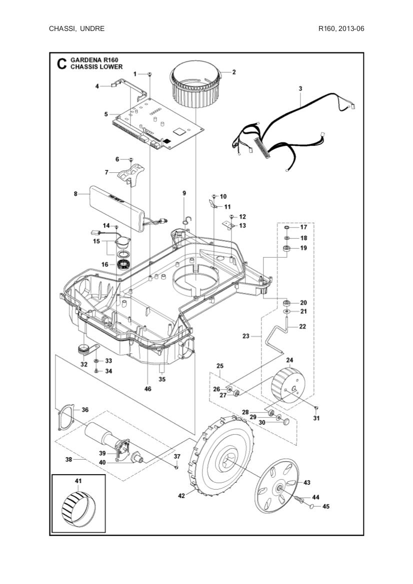 Hjul complete 6mm til Automower 220 AC, 230 ACX, Solar