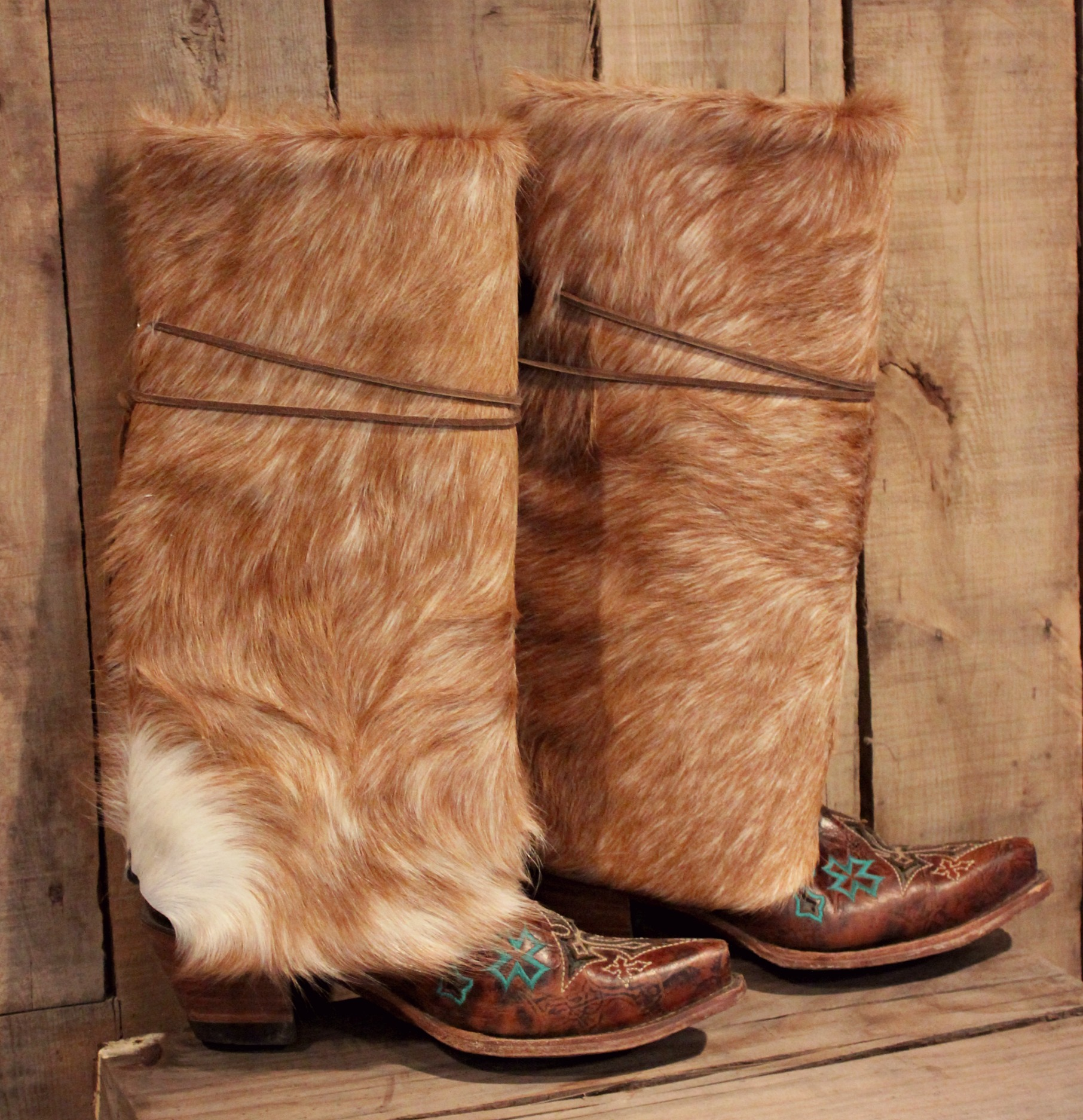 Tan Cowhide Boot Rugs Copper Wings