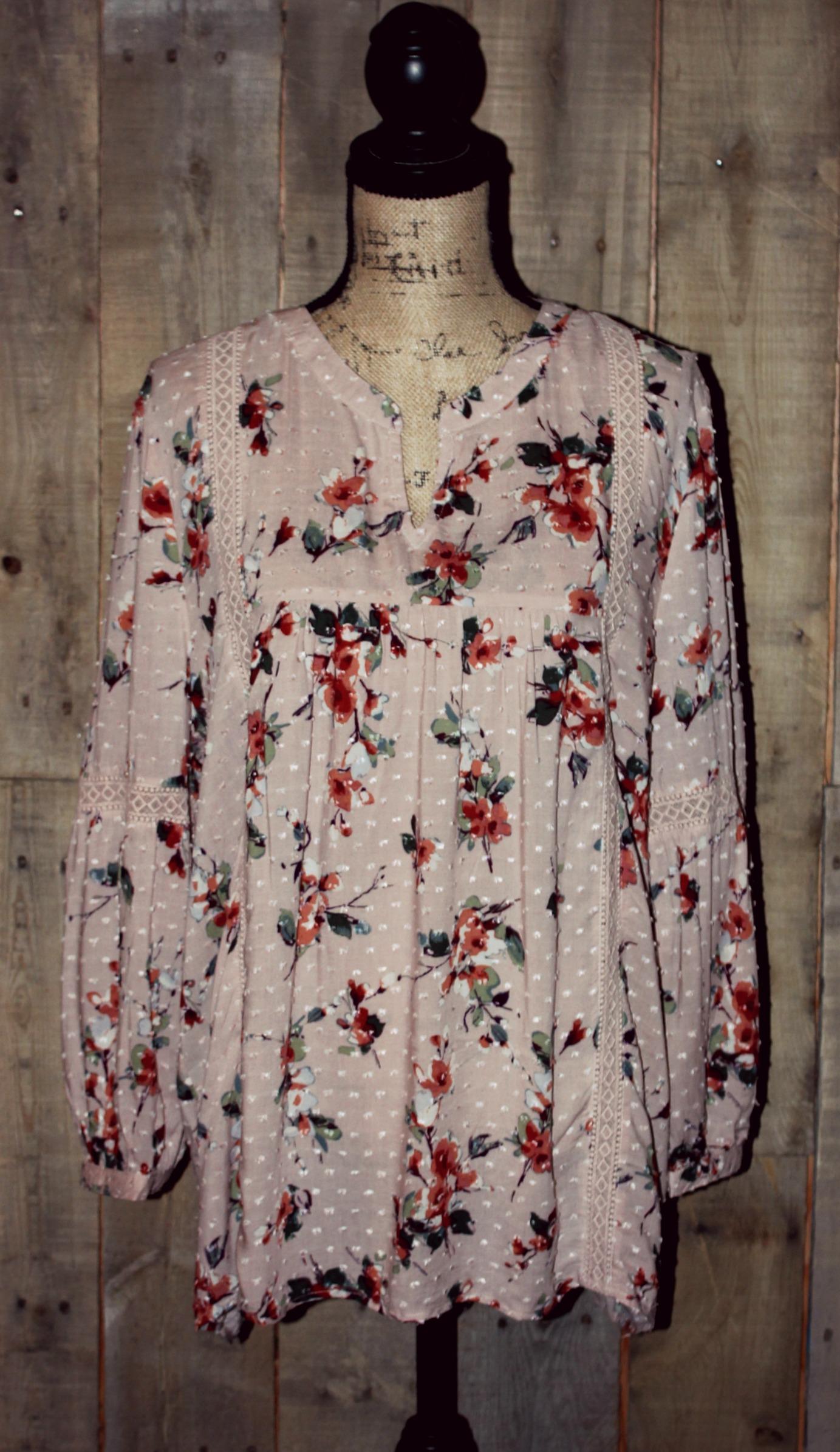 373271f6c5d5 Blu Pepper Long Sleeve Dusty Pink Floral Top - Copper Wings
